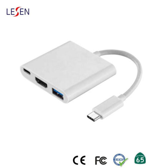 Male USB 3.1 Type C to Female HDMI Multiport Adapter with USB 3.0 and Power Delivery pictures & photos