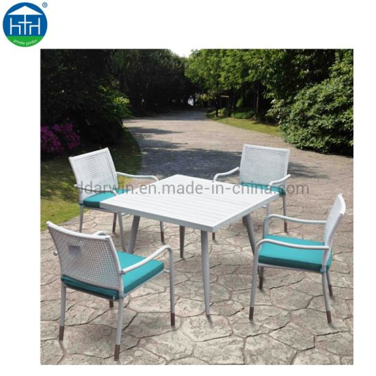 Mesh Chairs And Plastic Wood Table, Patio Furniture Direct