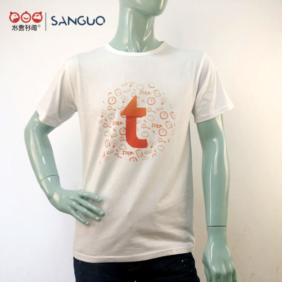 Mens Custom Short Sleeves Cotton White T-Shirt with Logo Printing