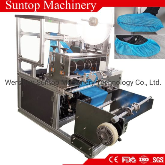 Automatic Disposable Plastic Antislip Nonwoven Shoe Cover Making Machine with Edge Folding by Ultrasonic