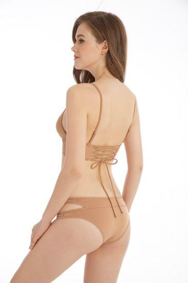 Factory Wholesale Pure Color Simple Design Women Sexy Swimwear Bikini