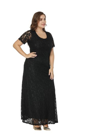 Lace hollow short sleeves Sweetheart with Long skirt of large size High Waist Long Evening Dress