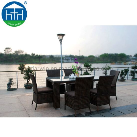Wholesale Wicker Patio Rattan Dining Table Sets for Garden