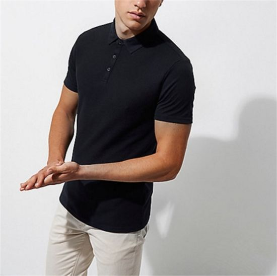 High Quality Wholesale Men Custom Logo Blank 100% Cotton Quick Dry Fit Black Sports Golf Pique Polo Shirts