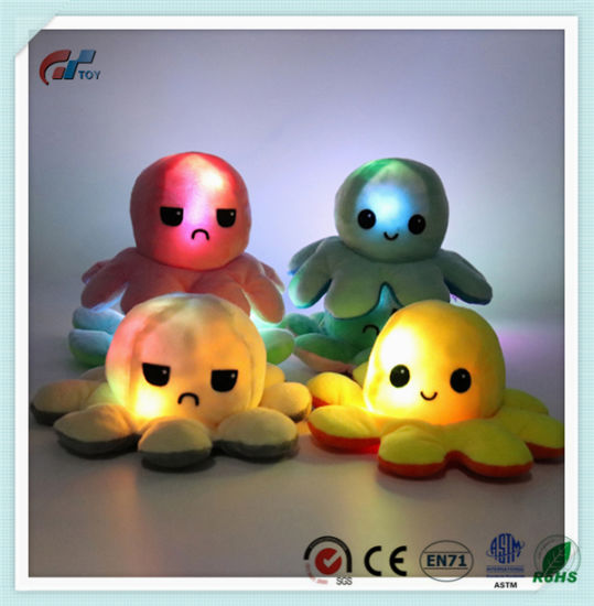 Plush New Design Stuffed Octopus Toy Convertible Reversible Soft LED Toy