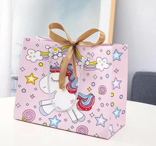 Cartoon Gift Bag Shopping Bag Child Wrapping Bag Unicorn Handbag Paper Bag Package Bag