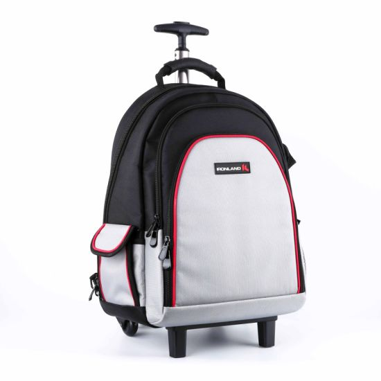 Trolley Rolling Design 1680d Polyester Backpack Tool Bag with Laptop Sleeve