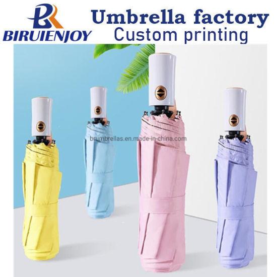 Fashion Simple Sun Umbrellas Windproof Three-Fold Full Automatic UV Umbrella Women