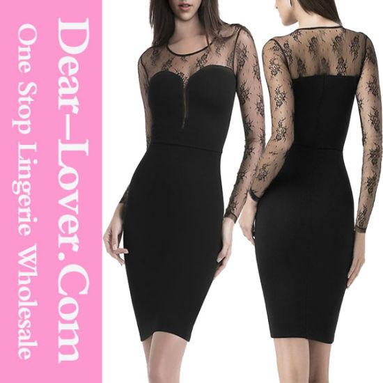 Long Sleeve Celebrity Mesh Insert V-Neck MIDI Party Bodycon Dress 2516adf90