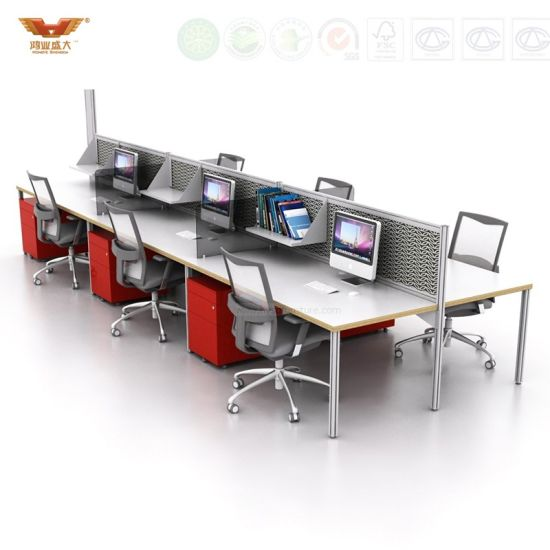 6 Seats Office Counter Desk Design With Melamine Wooden Office Workstation