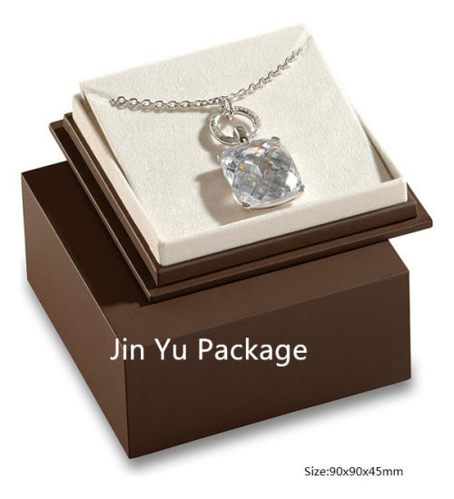 Luxury Handmade Chocolate Color Paper Square Gift Jewelry Box pictures & photos