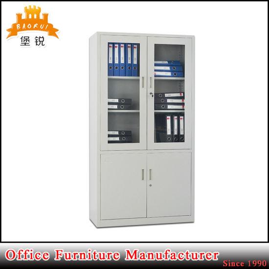 Half Height Glass Door Lockable Steel Bookcase Office File Cabinet