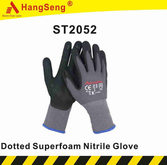 Atg Maxiflex Style Dotted Super Ultra Foam Nitrile Safety Work Glove for Industrial Use