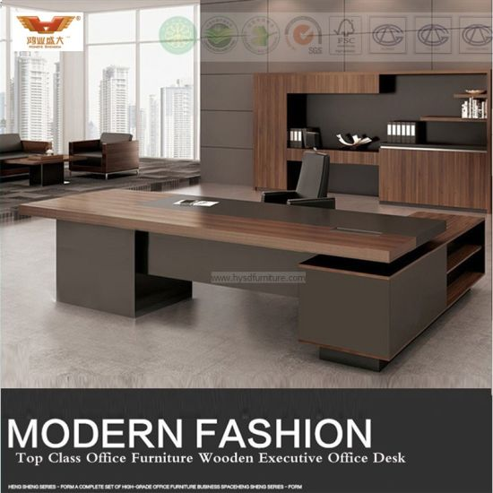 Fsc Forest Certified Approved By SGS Wooden Melamine Office Furniture  Modern L Shape Executive Office Desk Executive Office Desk (HY 589)