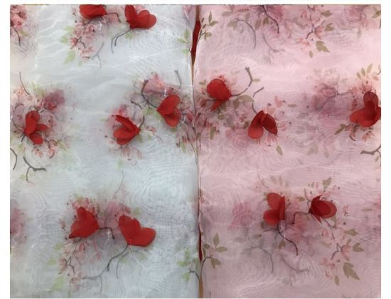 Manual Stereoscopic Flower Mesh Embroidery Lace Fabric