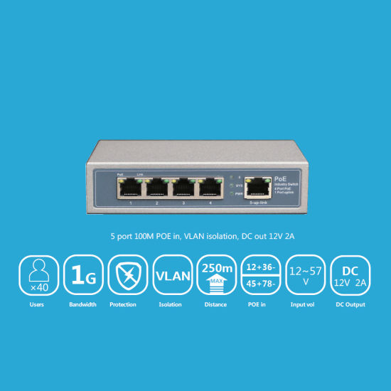 8 Port 10/100/1000Mbps Reverse Poe Switch with 12/5A Output From DC Socket Vlan Support pictures & photos