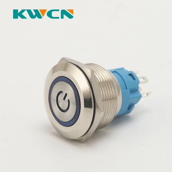 Waterproof Push Button Switch Latching Metal Shell On Off 16mm 3A 250V AC