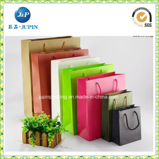 Customized Colorful White Kraft Paper Bag for Garment (jp-paper bag02) pictures & photos