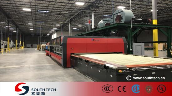 Southtech Horizontal Roller Hearth Passing Double Chamber Double Quenching Toughened Glass Processing Machinery with Vortech Convection System (TPG-2S-V series)