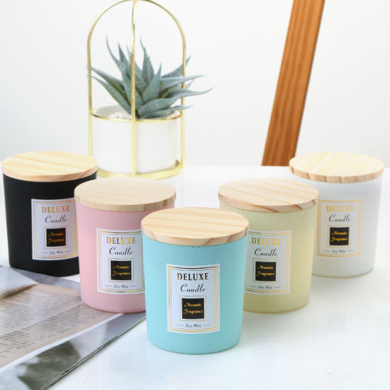 Wholesale Natural 220ml 320ml Luxury Empty Soy Wax Candle Holder Glass Candle Jar with Box Packaging in Bulk