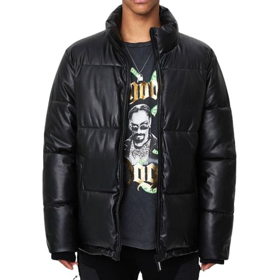 High Quality Wholesale Custom Mens Plain Faux Leather Puffer Jackets