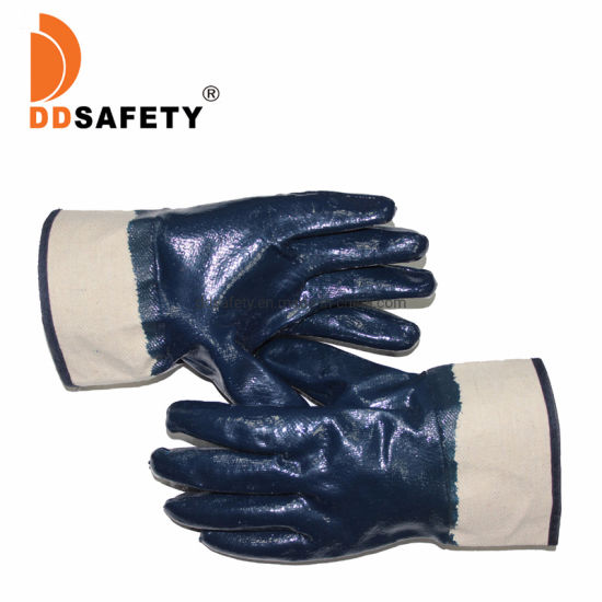 Ddsafety Blue Heavy Duty Nitrile Fully Coated with Safety Cuff Gloves for Construction Ce 4111