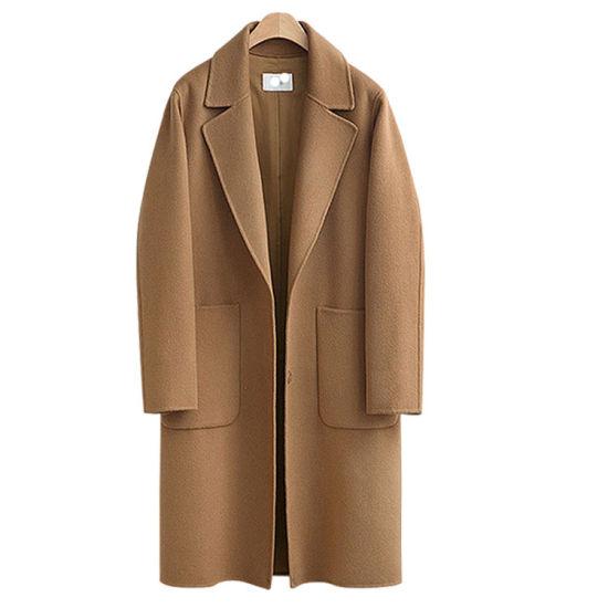 New Design Winter Ladies Belt Khaki Women Trench Coat Female Woolen Coat