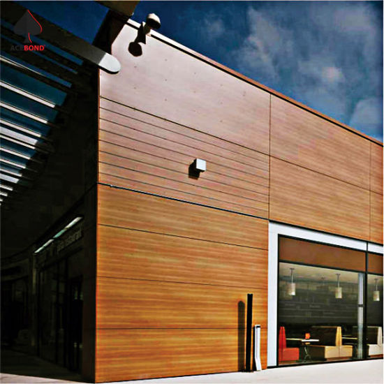 Decorative Material Aluminum Facade Sandwich Wall Panel with Wood Grain