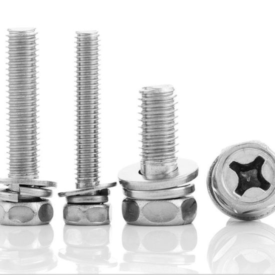 High Quality Stainless Carbon Steel Zinc White Philips Round Head Screws Assemblies Combined with Spring Washer and Plain Washers