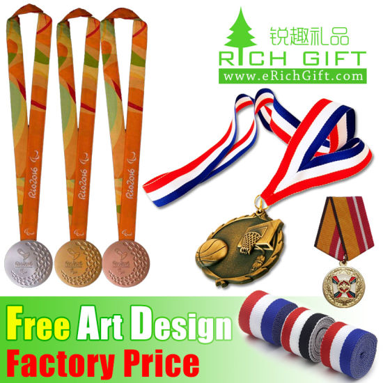 Promotional Custom Wholesale Fabric/Military/Satin/Soft/Printed/Polyester/Neck/Lanyard Medal Ribbon pictures & photos