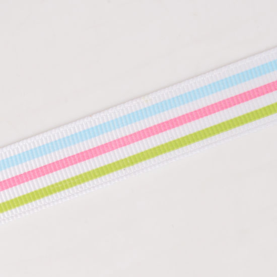 "7/8"" Pastel Stripe Grosgrain Ribbon pictures & photos"