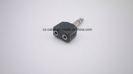 6.35mm Mono/Stereo Plug to 2*3.5mm Jacks pictures & photos