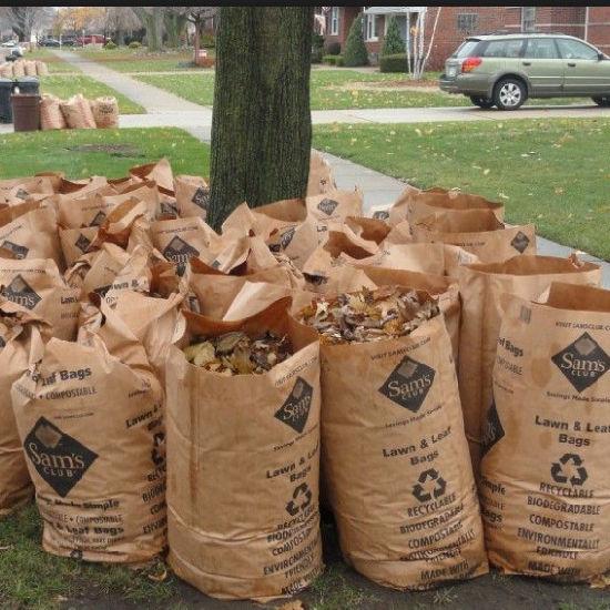 Yard Waste Garbage Brown Kraft Paper