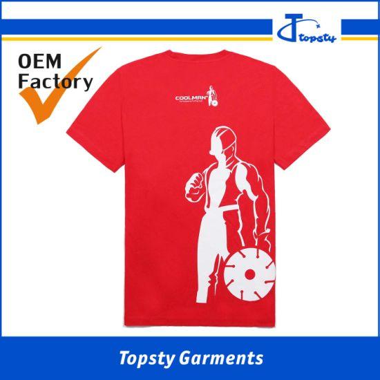 Custom Made Round Neck Short Sleeve Men's Cotton Silk Screen Printed T Shirts/Tee Shirts