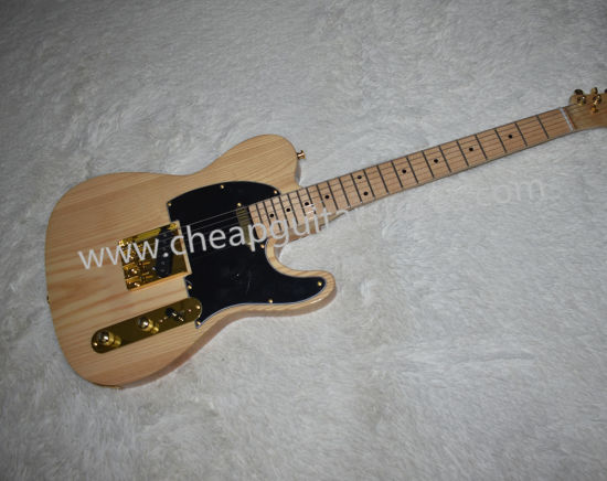 Factory Wholesale Wood Color Electric Guitar, Ash Body, Maple Neck, Maple Wood Board, Black Board, Gold Accessories
