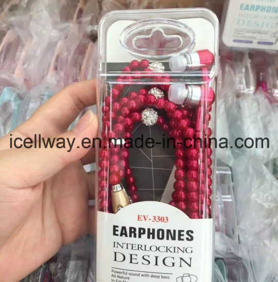 Phone MP3 Headphone in Ear Diamond Pearl Beads Couple Necklace Earphones with Mic fashion Gift Girls Earbuds pictures & photos