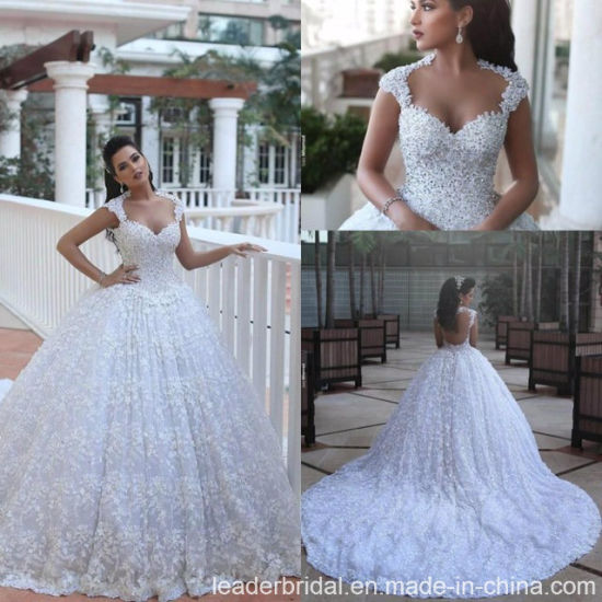 China Arabic Bridal Ball Gown Lace Flowers Luxury Crystal Wedding