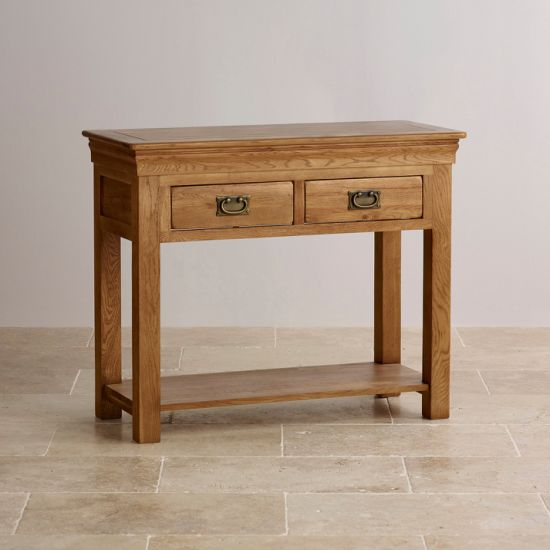 China Rustic Vintage Oak Solid Wood Console Table With Drawer And