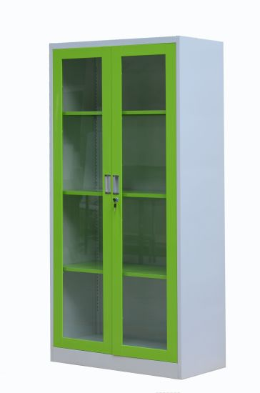 China Hot Sale Popular Green Glass Swing Door Office Furniture Metal Storage Filing Cabinet China Glass Door Cabinet Steel Cabinet
