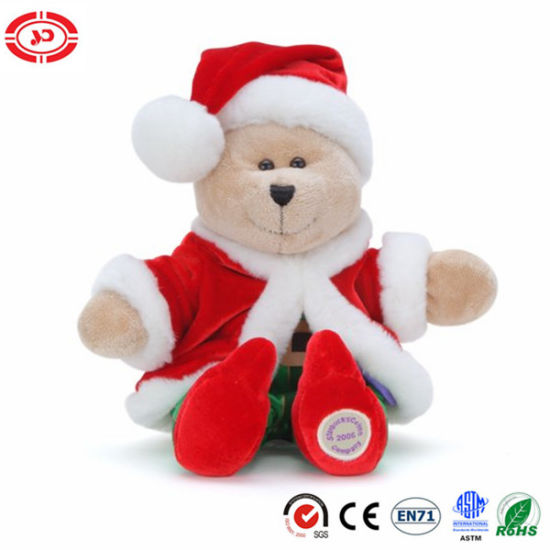 Christmas Bear Santa Clause Red Coat Happy Gift Soft Toy