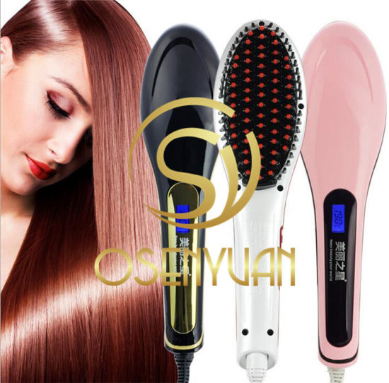 Original Factory Price Mini Ceramic Electronic Magic Hair Straightener Comb Electric Straight Hair Comb Straightener Iron Brush with LCD pictures & photos