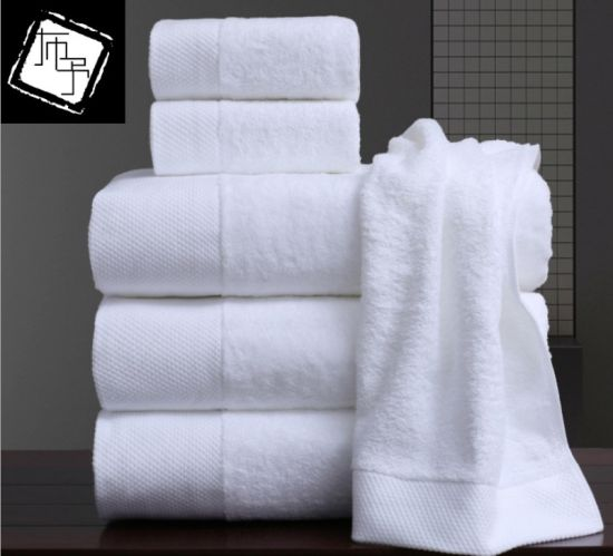 Factory Custom Logo Extra Thick Plain Cotton White Terry Star Hotel Bath Towel Handkerchief