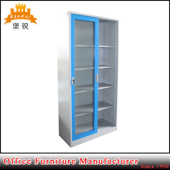 Glass Sliding Door Steel Cupboard Display Cabinet with 4 Adjustable Shelves pictures & photos