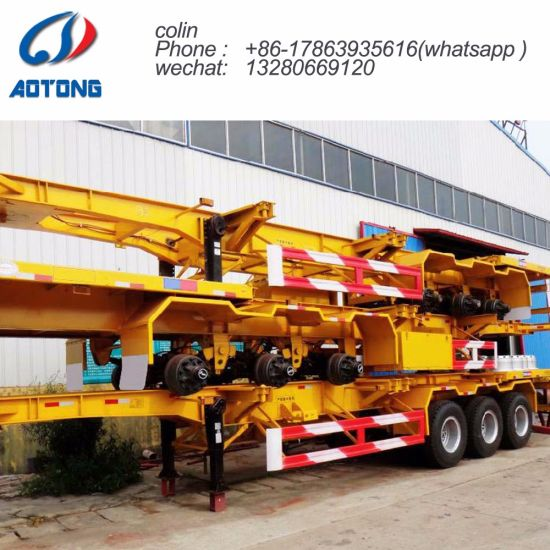 Aotong 20FT 40FT 45FT Semi Trailer Chassis for Container Transportation pictures & photos