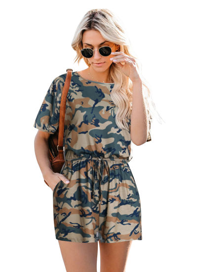 Round Neck Camouflage Dress Women Fashion Clothes