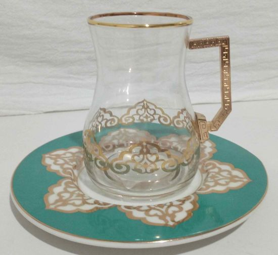 Tea Glasses and Saucers Set with Gold