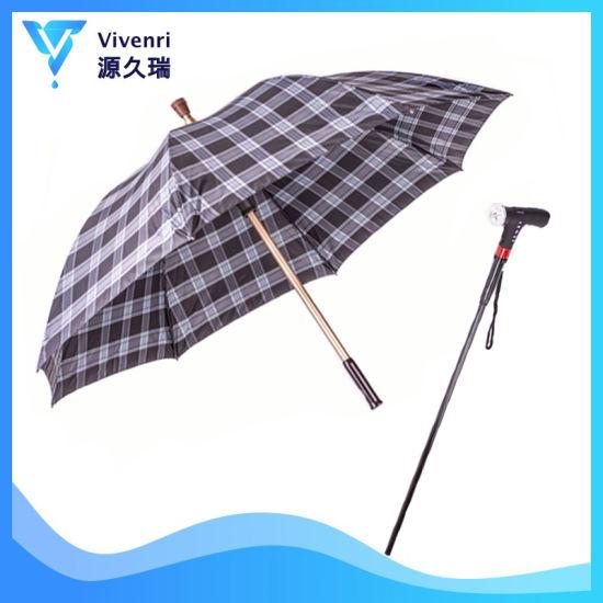 High Quality Manual Open Torch Handle Walking Stick Umbrella