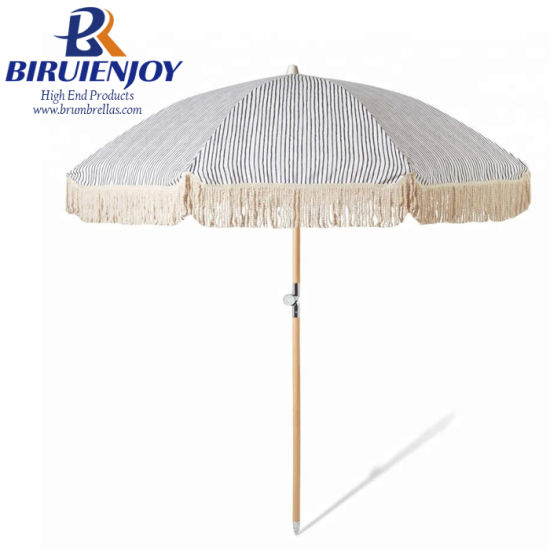 2018 New Design Luxury Premium Outdoor Parasol Beach Umbrella with Trim/Tassel 180/200