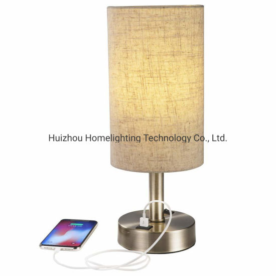 Jlt-15653 Modern Home Convenient 5V 2A USB Charing Table Desk Lamp Nightstand Light with Cylinder Lampshade Bronze Metal Base