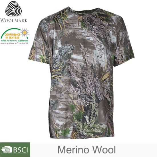 Quick-Drying Merino Wool Baselayer Mens Camo T-Shirt Hunting